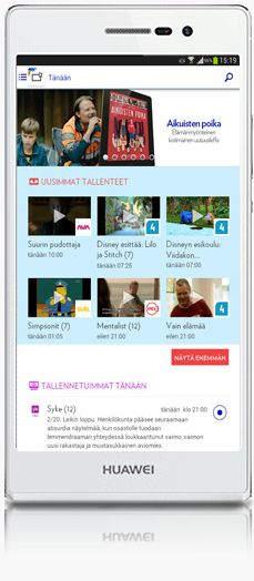 UX design example: Elisa Viihde Android mobile - Main