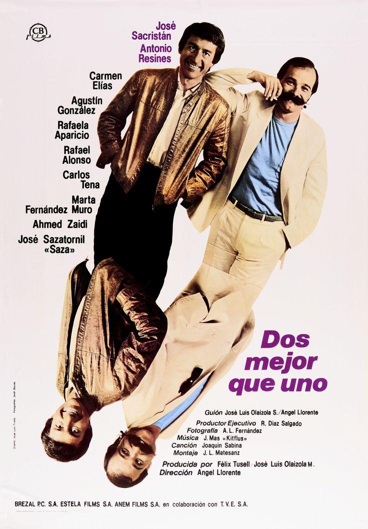 """""""Dos mejor que uno"""", Ángel Llorente, 1984. Con José Sacristán, Antonio Resines, Carmen Elías, Jorge Sanz... http://estelafilms.com/pelicula.php?url=dos-mejor-que-uno"""