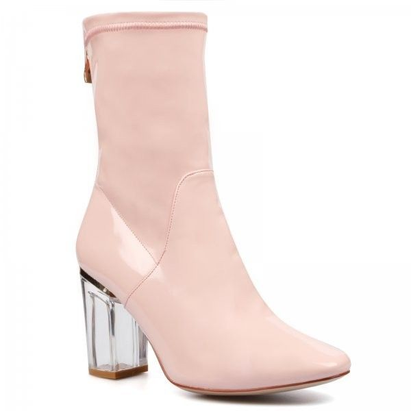 Chloe Perspex Heel Pink Ankle Boot ($44) ❤ liked on Polyvore featuring shoes, boots, ankle booties, pointed-toe ankle boots, patent leather booties, patent ankle boots, pink boots and zipper boots