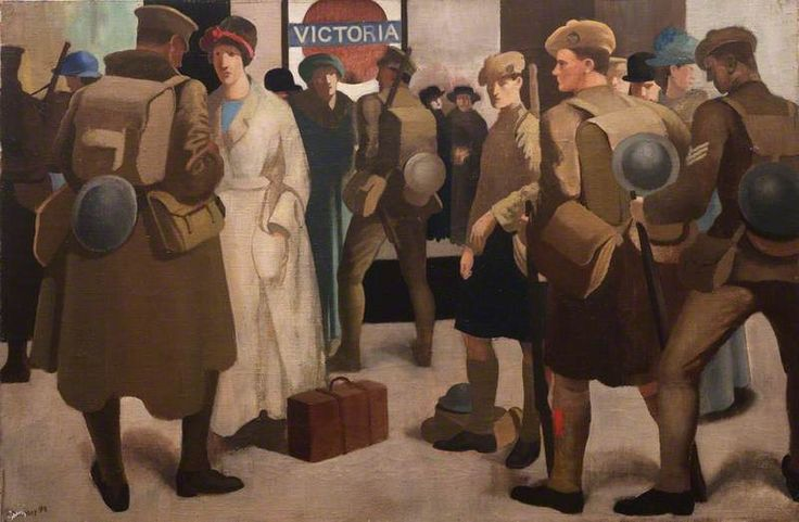 Victoria Station, District Railway by Bernard Meninsky.   Date painted: 1918