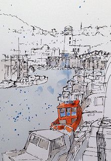 Colour added as a trial to the Scarborough harbour sketch....done on a line print before I commit washes to the original drawing | por John Harrison, artist