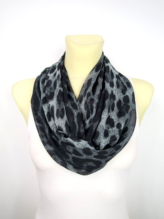 Leopard Circle Scarf - Printed Circle Scarf - Black Circle Scarf - Animal Circle Scarf - Women Circle Scarf - Fall Circle Scarf - Gift Idea