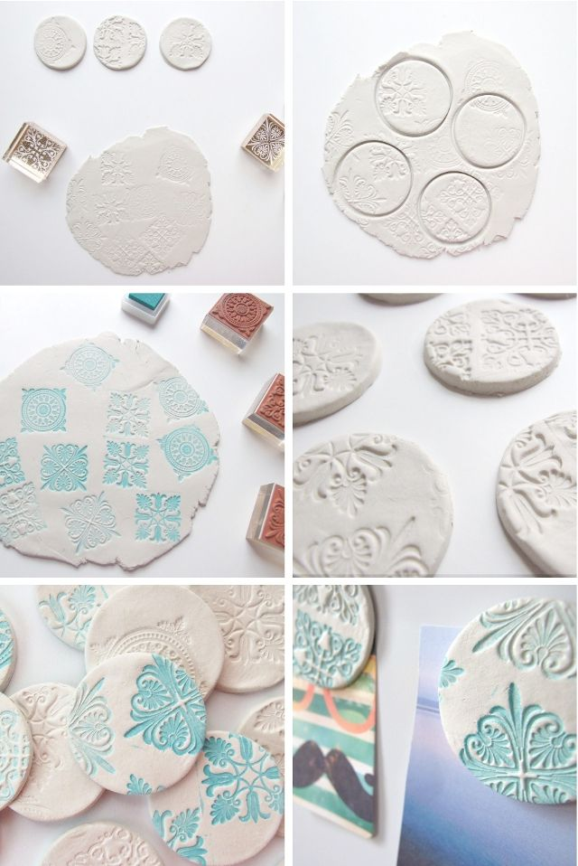 Stamped Clay Magnets. On Sutton Place had an idea for using discs as napkin ring holder. Check it out.