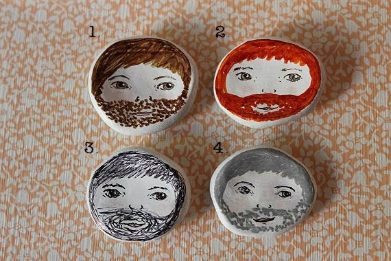 Bearded Boys! Tiny Illustrated Face Dishes. Jewellery/Ring/Trinket Dish. One off designs, 4 styles