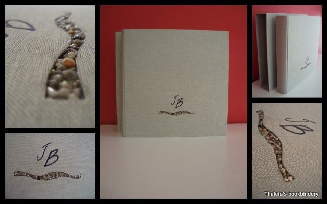 J&B's wedding photo album. For a wedding by a beautifull greek beach. I used tiny pebbles to form the wave cut. For more:  Thaleia's bookbindery on facebook or ergastirivivliodesias.blogspot.com