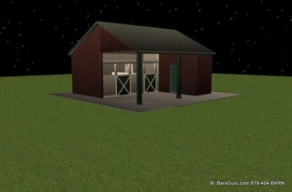 2 Stall Shed Row Horse Barn Double Up House