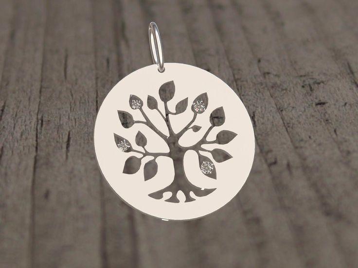 Médaille personnalisée arbre de vie or gris et diamants - Gregoire Dael Création
