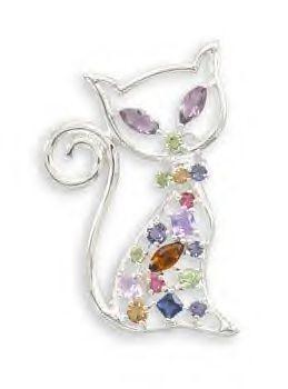 Multicolor Swarovski Crystal Kitty Cat Fashion Pin