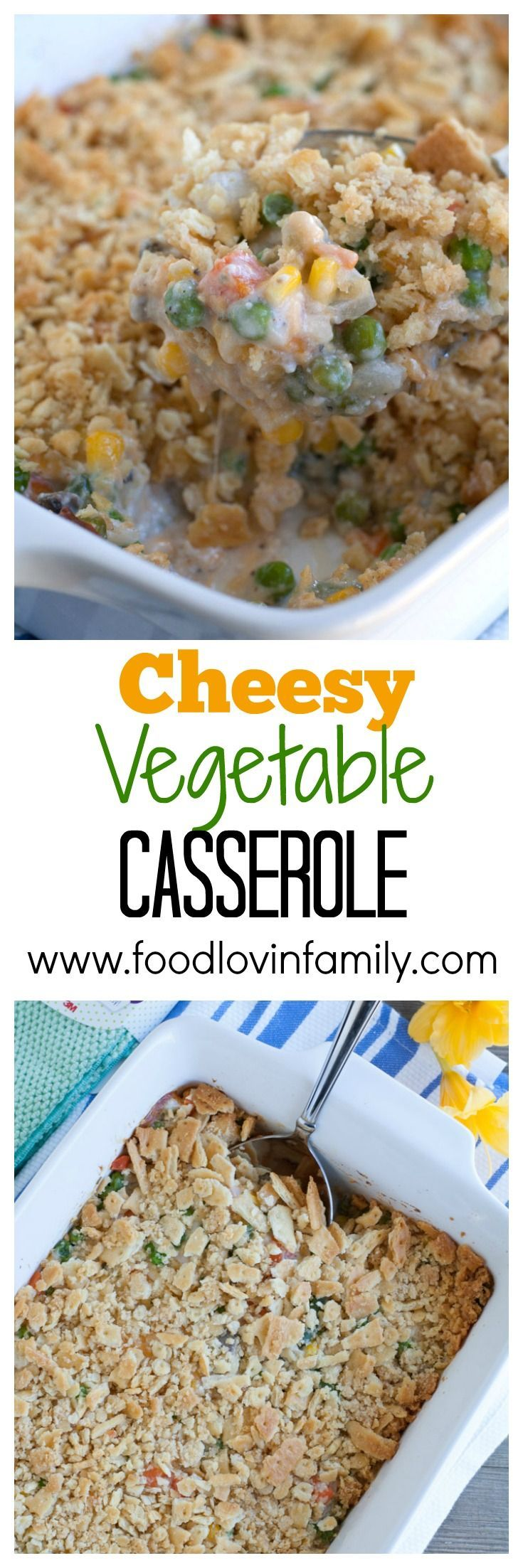 Cheesy Vegetable Casserole is a crowd favorite. The ultimate side dish filled with veggies, cheese, and topped with crushed buttery crackers. #ad #MySpringClean #TeamDishCloth