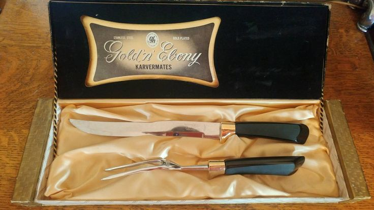 Boxed Vintage Glo-Hill Gold and Ebony 2 Piece Karvermates Knife and Fork Serving Set