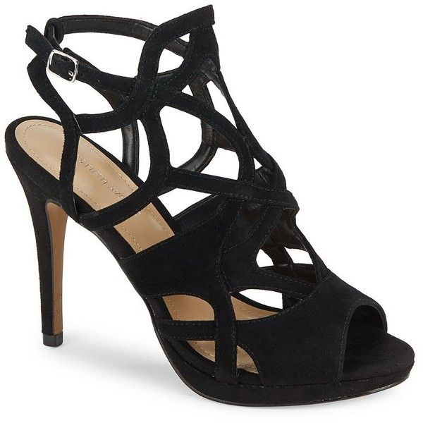 Saks Fifth Avenue Cage-Design Leather Stiletto Sandals ($40) ❤ liked on Polyvore featuring shoes, sandals, black leather shoes, red shoes, leather sandals, black stilettos and black peep toe sandals