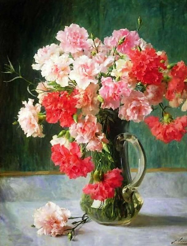Still Life with Carnations by Emile Vernon (1872 - 1919)