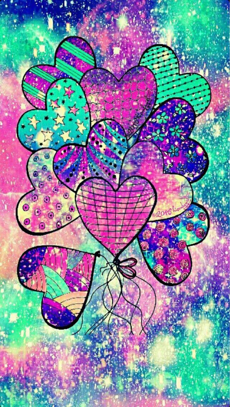 heart rainbow balloon galaxy wallpaper