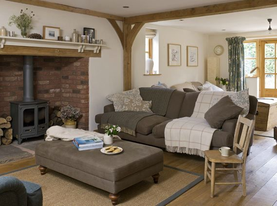 Country cottage living room. Inglenook fireplace.