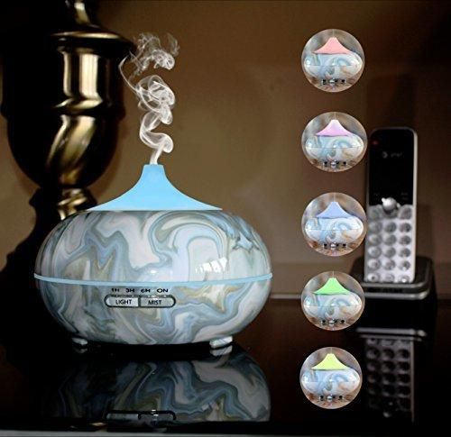 Your Spirit Space 300ml Blue Marble Aromatherapy Essential Oil Diffuser Portable Ultrasonic Cool Mist Humidifier - 7 Color LED Lights Auto Shut-Off Home Office Bedroom Spa Yoga Living/Baby Room