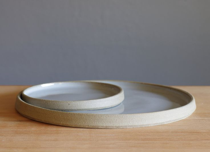 MTO minimalist plates pottery grey glaze on sand colored stoneware nesting tray set minimal modern pottery ceramic. $100.00, via Etsy.