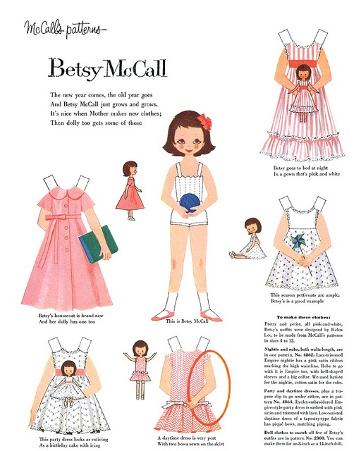 Vintage Betsy McCall Paper Dolls 1965 Betsy - Pinterest