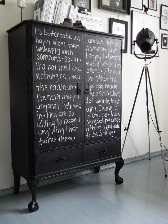 DIY Projekt: Schrank mit Tafellack bemalen | Möbel selber