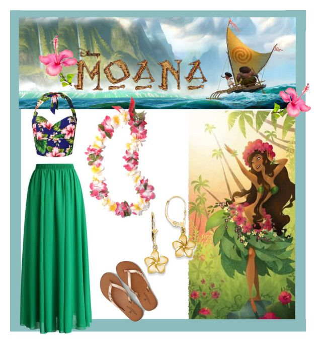 """Disney Moana  Beach Outfit"" by rose-of-grace ❤ liked on Polyvore featuring Disney, Chicwish, Kevin Jewelers and American Eagle Outfitters"