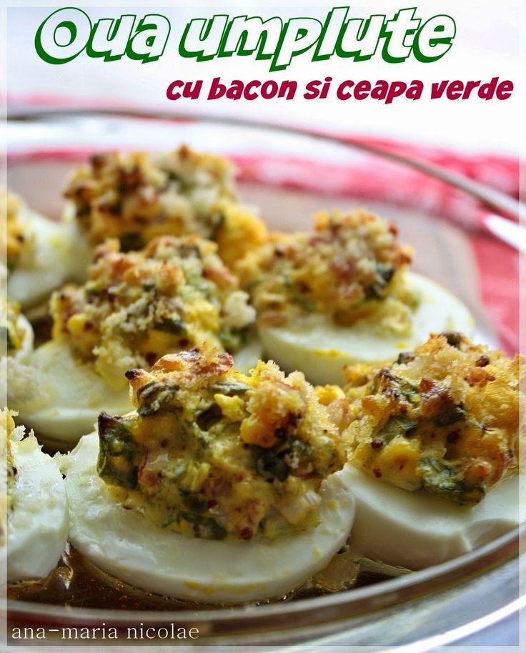 Daca va plac ouale umplute dar vreti sa le pregatiti putin mai altfel, va propun aceasta reteta care necesita si o scurta perioada de coacere pentru o crusta crocanta deasupra. (adsbygoogle = window.adsbygoogle || []).push({});  Ingrediente 4 oua 4 felii de bacon 1 fir de ceapa verde 1 lingura de maioneza 1 lingurita mustar …