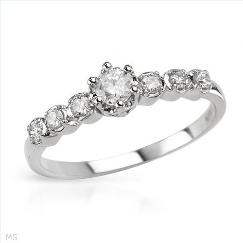 $309.00  Stunning Brand New Solitaire Plus Ring With Genuine  Diamonds Beautifully Crafted in White Gold- Size 7 We Can Resize from 6 to 8 - Certificate Available.