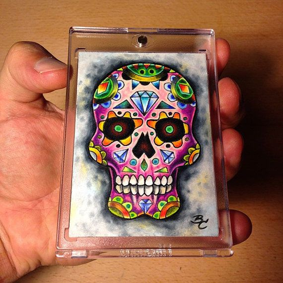 Sugar Skull ACEO Prismacolor art illustration by by bryancollins, $45.00