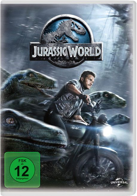 JURASSIC WORLD - starring Chris Pratt and Bryce Dallas Howard - Jurassic Park 4 - UNIVERSAL - German DVD Cover - kulturmaterial