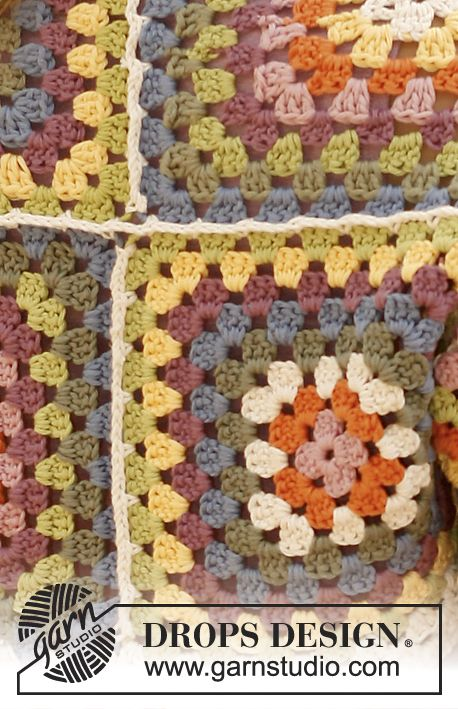 """Spring Cozy - Crochet DROPS shoulder piece with squares in """"Paris"""". - Free pattern by DROPS Design"""
