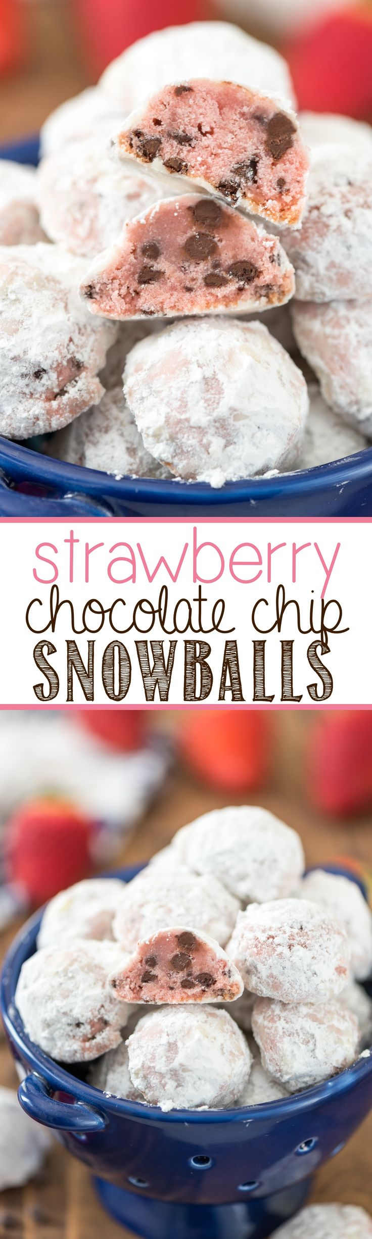 Strawberry Chocolate Chip Snowballs - I added strawberry to my favorite Russian Teacake recipe! These are the perfect EASY cookie for spring!
