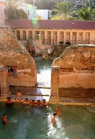 Ancient Roman Baths situated in the Aurès Mountains - Hammam Essalihine (Aquae Flavianae), El Hamma, Khenchela, Algeria
