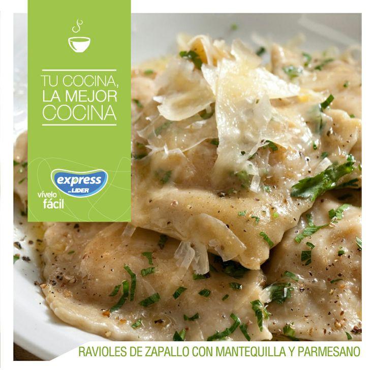 Ravioles de zapallo con mantequilla y parmesano. #Pastas #Recetario #RecetarioExpress #Lider