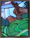 Inspired by Emily Carr - 'stained glass' done using clear glue and acrylic paints on glass.  Beautiful! Done by a 10yr old!!