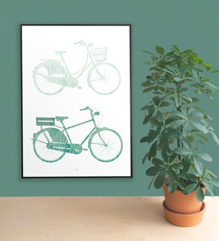 Green Bikes is a digital illustration of a lady and men´s bike with wood texture and in monochrome green colors.
