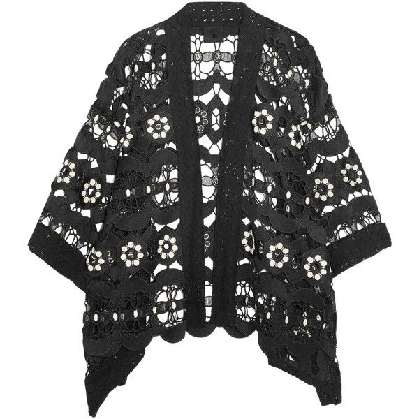 Anna Sui - Daisy Swirl Guipure Lace Jacket (5 800 UAH) ❤ liked on Polyvore featuring outerwear, jackets, black, lace jackets, anna sui and anna sui jacket
