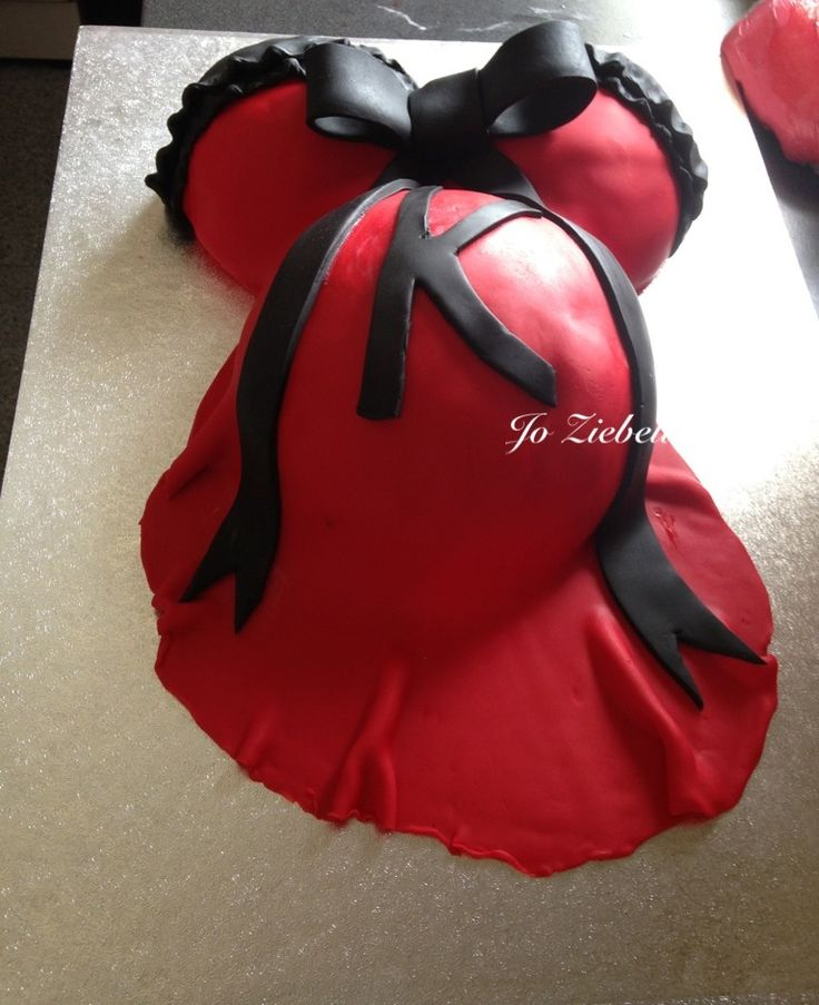 Baby Shower Cake In Red Black