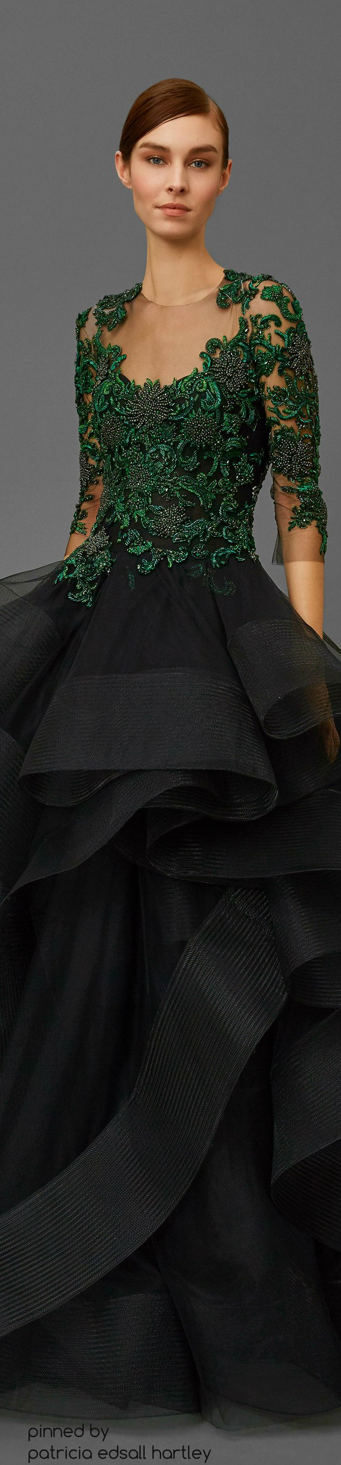 Marchesa Pre-Fall 2016  My favorite color green! Like this one a lot, too.
