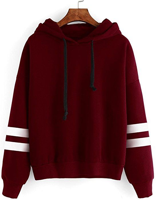 d2a6944ee4dac2 Amazon.com: XUANOU Womens Long Sleeve Simple Style Hoodie Sweatshirt Jumper Hooded  Pullover (Large, Red): Clothing