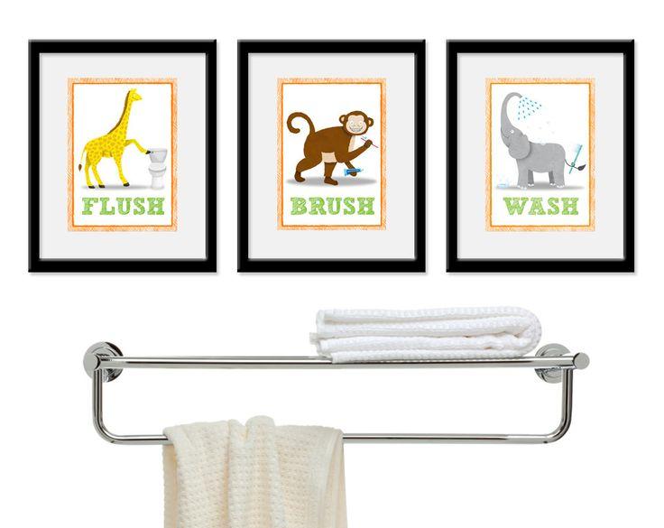 Jungle Bathroom Decor - Safari Bathroom Art - Three 8 x 10 Kids Bathroom Prints. Bathroom Rules - Wash, Brush, & Flush by KrankyKrab.. $35.00, via Etsy.