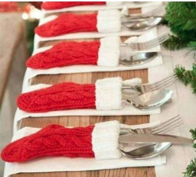 Wrap up  Why not pop your cutlery into cute mini stockings? It'll add a pop of colour to your wedding breakfast AND look adorable - win.
