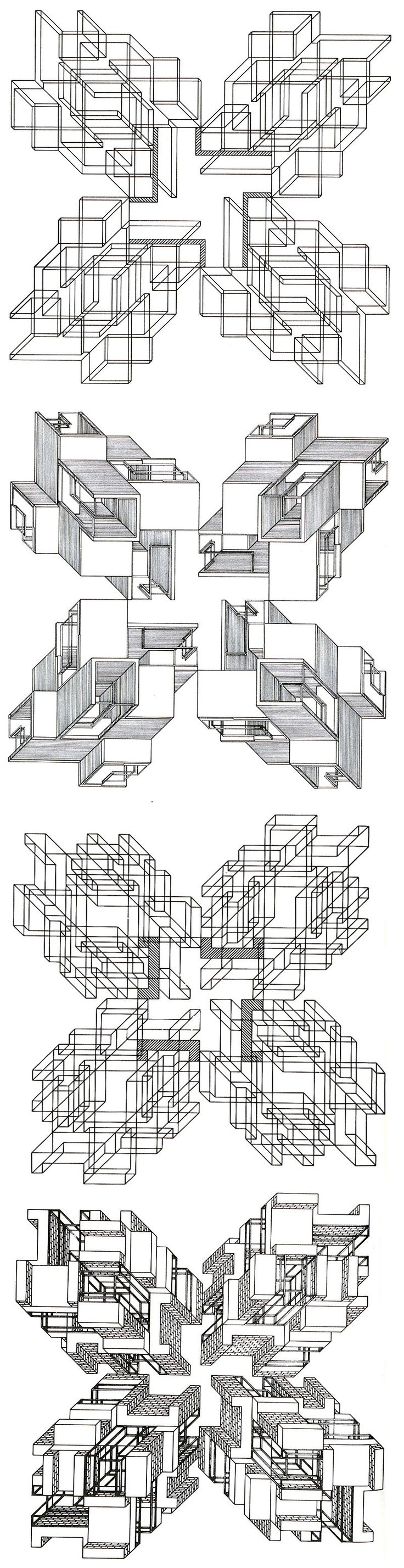 """""""The Formal Generators of Structure"""" is a sequence of drawings which explore orthogonal forms. The research starts from the square and the cross, two forms which are considered as the basis of a large part of plans and structures which have been historically developed by man. The long sequence..."""