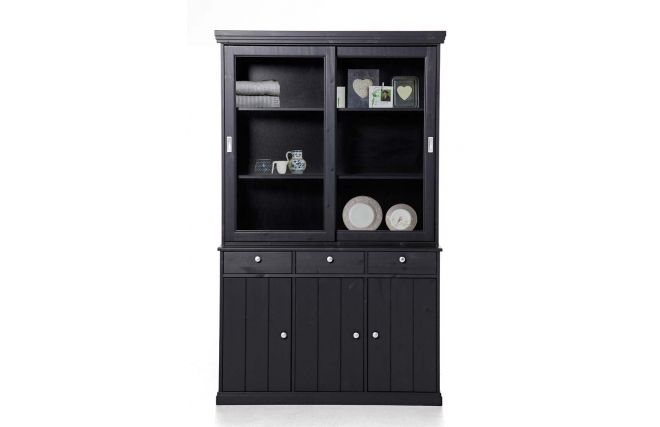 buffet vaisselier pin noir abaco promo meuble pas cher prix promo vaisselier miliboo 599 00. Black Bedroom Furniture Sets. Home Design Ideas