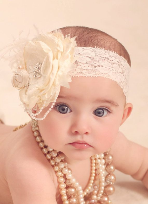 Vintage Lux Ivory and Cream Handmade Flower Headband, Feathers, Handrolled silk rosettes, pearls, Crystals veiling via Etsy