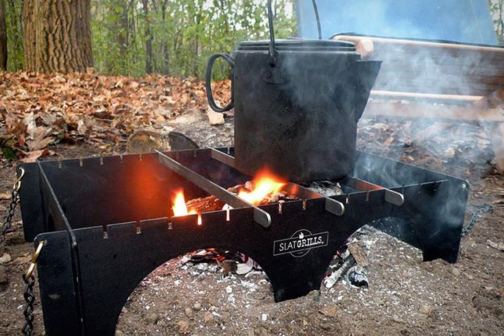 Slat Grill - a larger version of the folding Fire Box - great for camping spot or outdoor alternative cooking.