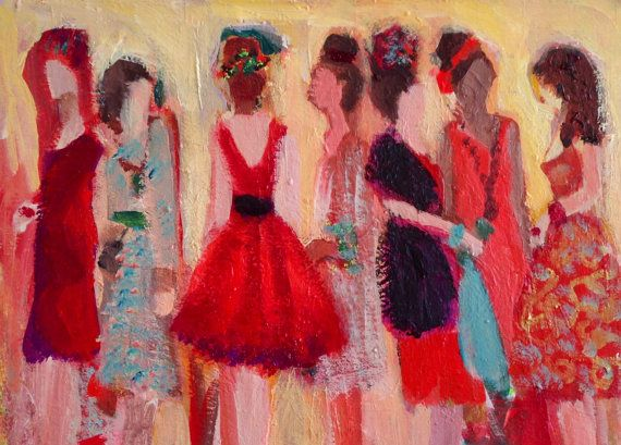 Spring Soiree, original signed acrylic painting on paper by Michelle Winters on Etsy, $250.00