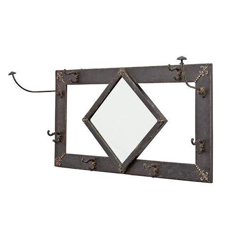 Victorian Hall Mirror w/ Hooks & Fleur de Lys