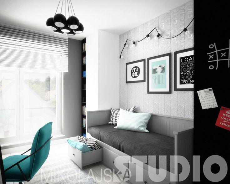 super rozwiązanie do gabientu - miejsce do spania i odrazu kanapa/ Fajna kolorystyka i sciana tablicowa.