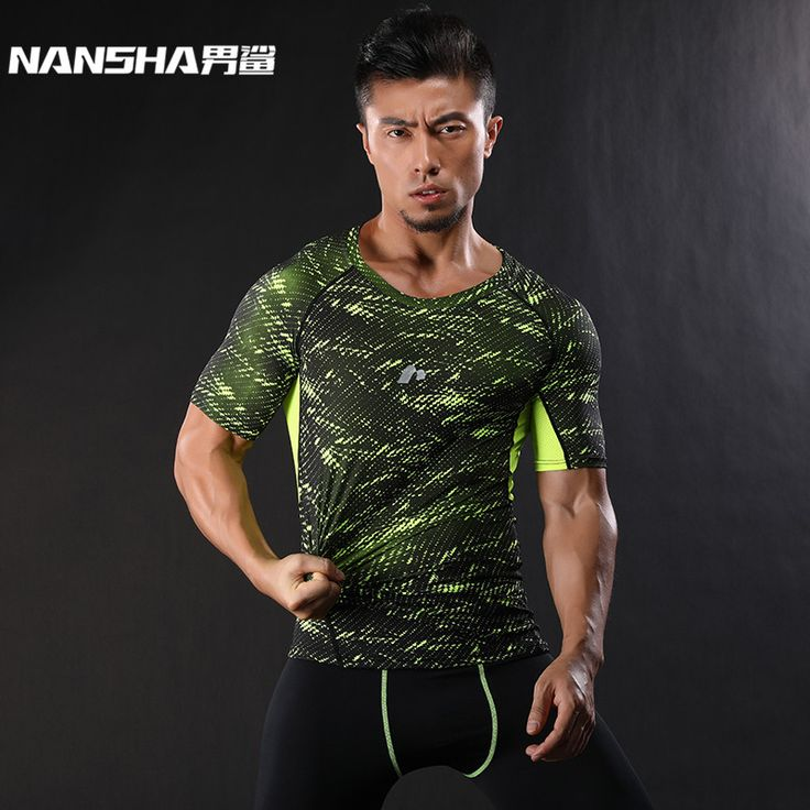 NANSHA Brand-Clothing Gyms Compression T-Shirt Workout Crossfit T Shirt Fitness Slim Tights Casual Shirts Quick Dry Breathable #Affiliate