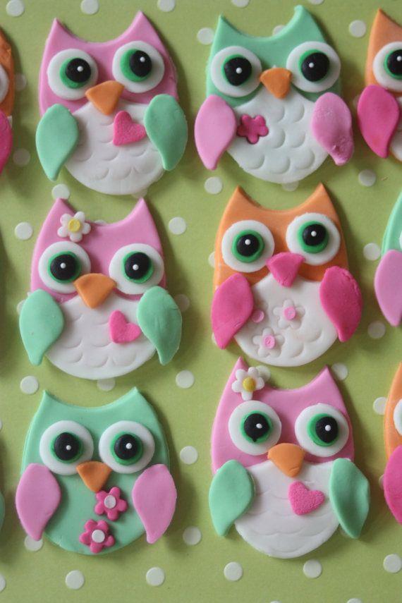 If you don't think they're cute, I don't give a hoot! / fondant cupcake toppers