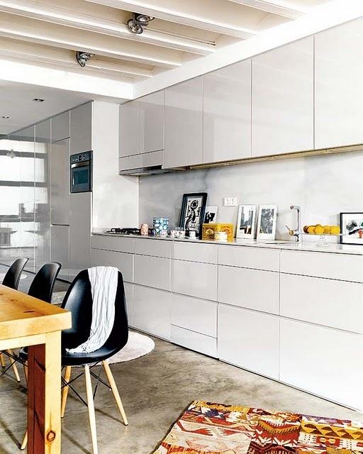White kitchen units with white worktop, needs concrete floor for balance?