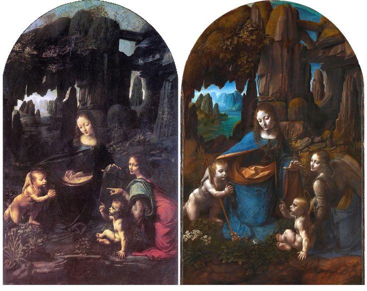 Leonardo da Vinci, Vergine delle Rocce, 1483-1486. Olio su tavola. Musée du Louvre, Parigi. Leonardo da Vinci, Vergine delle rocce, 1494-1499 poi 1506-1508. Olio su tavola. National Gallery, Londra.